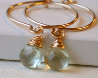 Dimpled Hoop Earrings with green amethyst. Dangle Earrings.