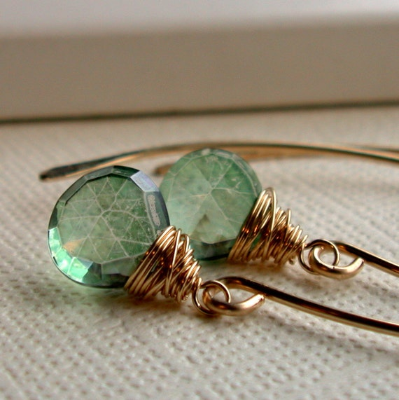 Mystic Green Quartz on Curving Hoops. Earrings.