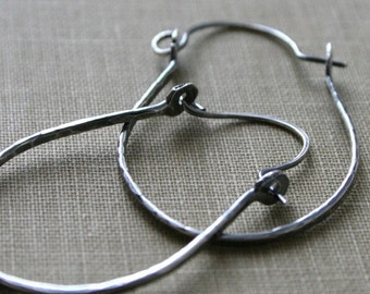 Forged Oxidized Sterling Silver Hoop Earrings