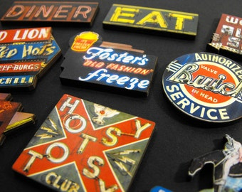 Vintage Neon Signs - Collection of 10 Wood Laser Cut Pieces