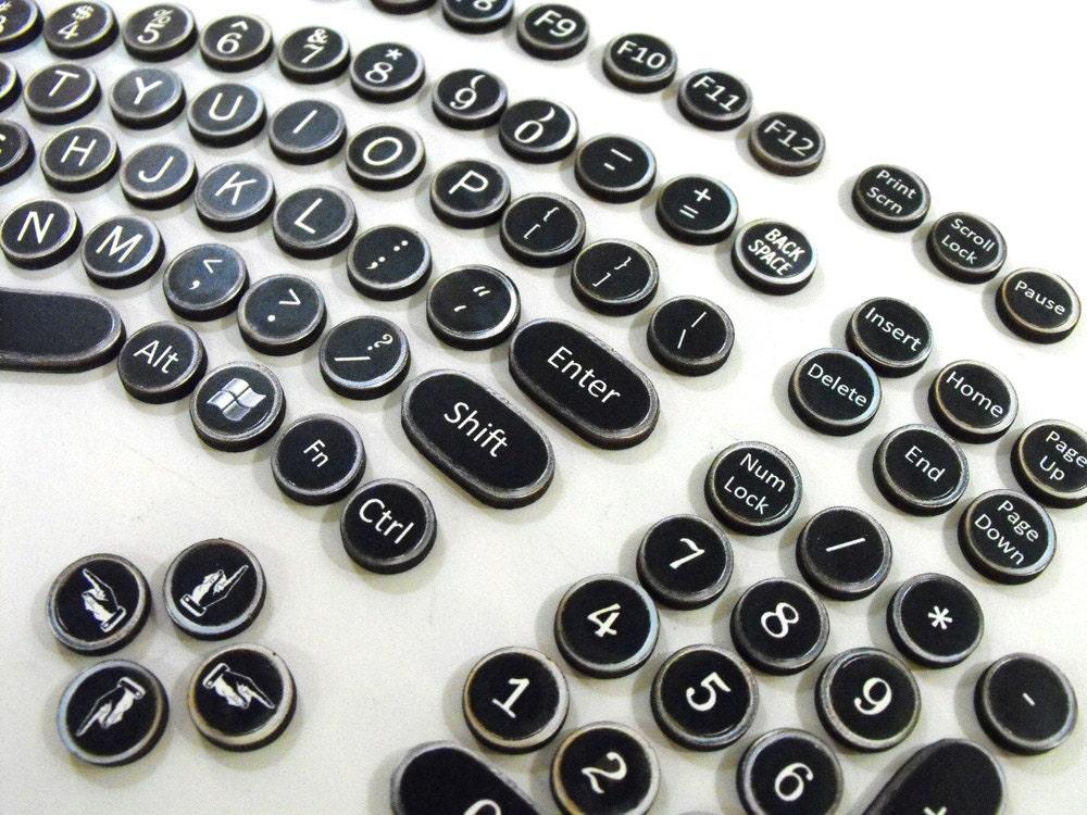 Steampunk Keyboard Set Wood Typewriter Keys replicating