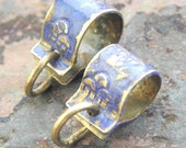 Handmade Brass Rain Cloud Bails, 2 pcs., stamped, Sapphire patina, PurpleLily Designs, SRA Suitable for Viking Knit
