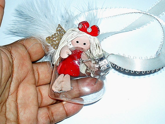 Glass Heart Angel of Love Ornament In fly little Love  Angel Cute Christmas Ornament