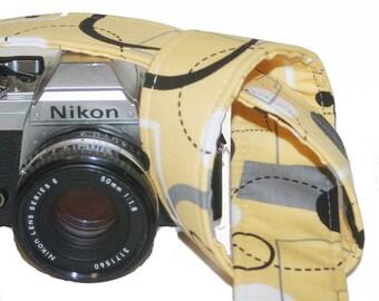 Camera Strap - Yellow Grey Retro  - SLR, DSLR