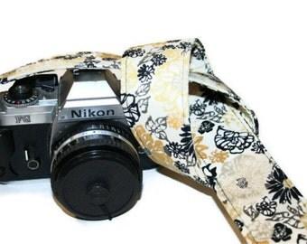 Camera Strap - Creamy Yellow Black White Blooms - SLR, DSLR