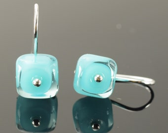 Tiny Glass Square Earrings in Turquoise