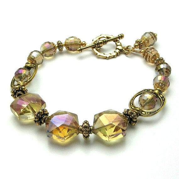 Crysta lbeaded bracelet, Large chunky crystals Golden topaz Gold bracelet Pink and purple flash Beaded jewelry by pacificjewelrydesign