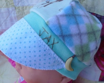Beautiful Baby blue and green monkeys Infant sized Jax Hat