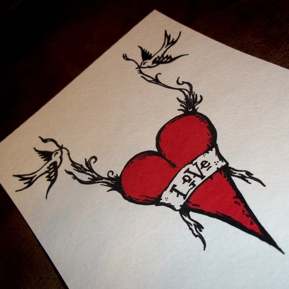 Tattoo Swallows with banner and Heart Romantic Print Love Birds 5x7 Art Print by Agorables Undead Valentine's Day
