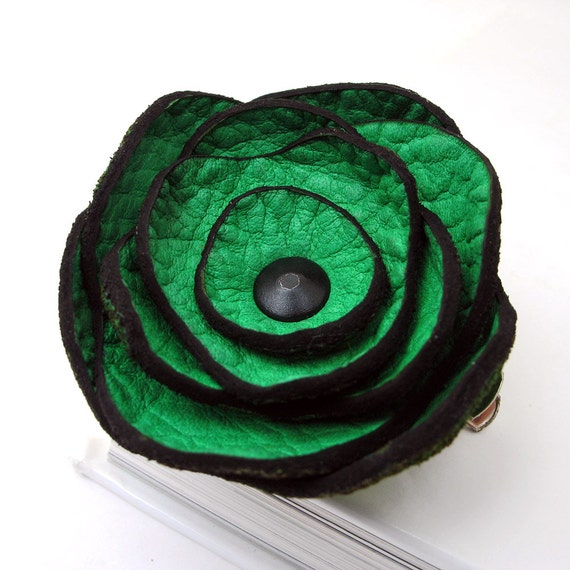 EcoClip/Pin for Hair, Hat or Lapel, Bright Green Leather Poppy Flower, Women, Teen Girl, Brooch, EcoFriendly, Reclaimed Leather, OOAK