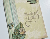 Sympathy  Card Thinking of You in Modern Leaves, Ecru and Green