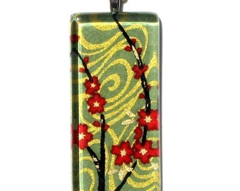 red blossoms on sage necklace pendant - glass and Japanese chiyogami - flowing cherry blossoms