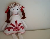 Made to order Berta linen embroidered doll and her exquisite Guimarães dress