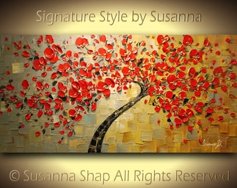 ORIGINAL Red Cherry Blossom Tree Large Abstract Canvas Oil Painting Landscape Thick Texture Gallery Fine Art by Susanna 48x24 Made2Order