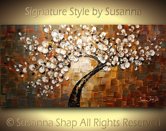 original large abstract contemporary brown white tree cherry blossom painting palette knife thick texture by susanna 48x24