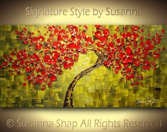 ORIGINAL Large Abstract Green Red Cherry Blossom Tree Painting Thick Texture Gallery Fine Art by Susanna Ready to Hang 48x24 Made2Order