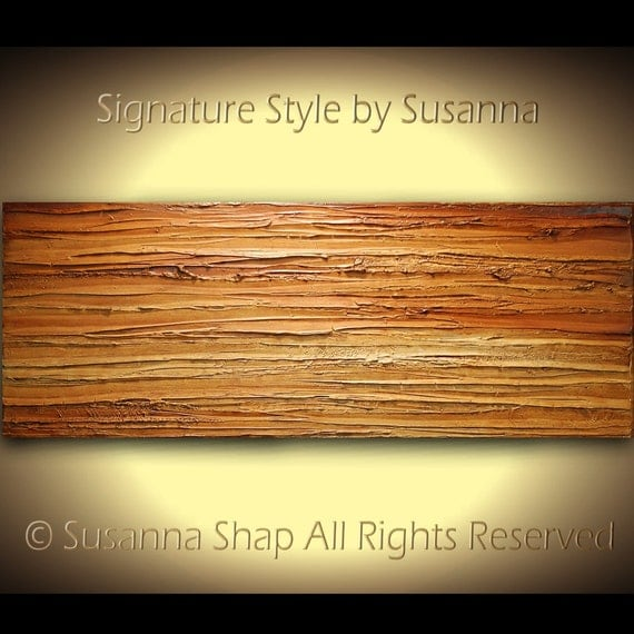 Original Large Abstract Contemporary Brown Rust Landscape Art on Canvas Thick Texture Ready to Hang 48x18 by Susanna
