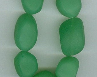 Opaque Green Sea Glass Tumbled Nugget Glass Beads Set of 7 Beads