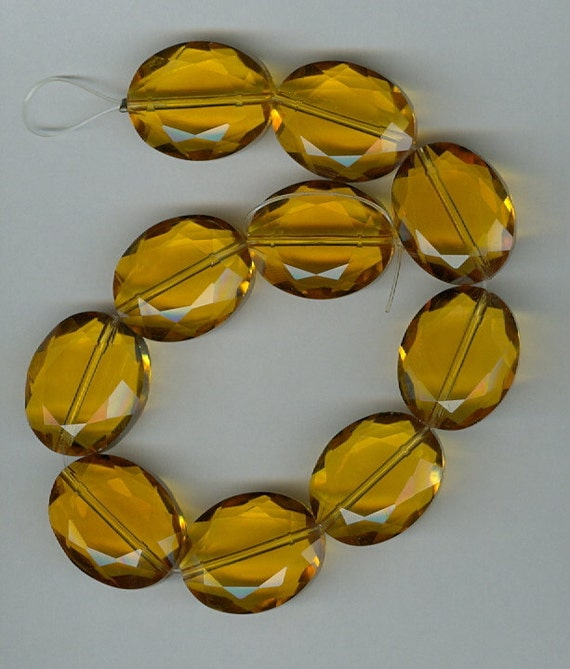 20x16mm Chinese Crystal Designer Faceted Amber Oval Beads 10 Beads