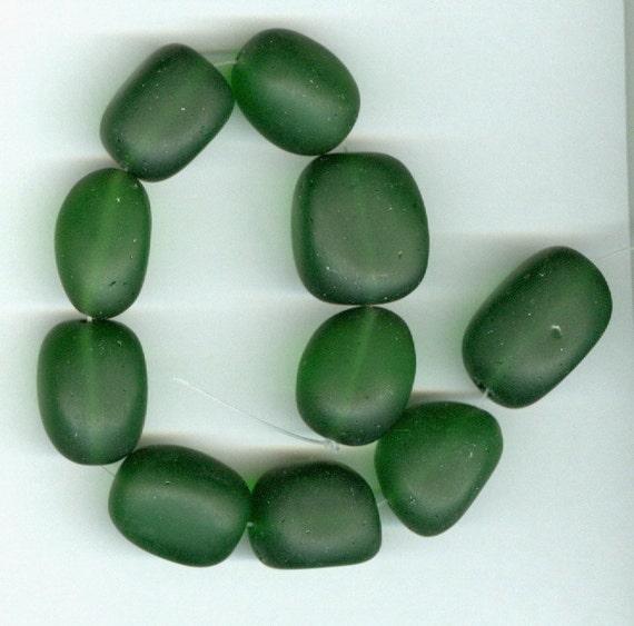 Sea Glass Nugget Beads Dark Green Set of 10