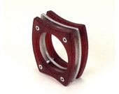 Sterling Silver and Red Resin Riveted Ring - Vitalize