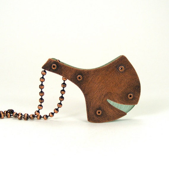 Oxidized Copper and Aqua Resin Riveted Pendant Necklace - Gingko
