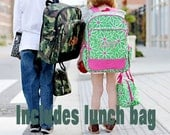Camo Matching  Backpack and Lunch Tote Set  -  Monogrammed Personalized