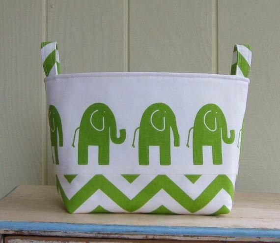 Fabric Storage Bin- Organizer- Basket- Elephants- Chartreuse- White- Chevron- Zig Zag- X-Large