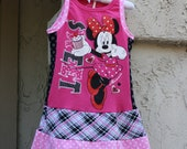 MINNIE Upcycled Boutique T-Shirt MOUSE Dress Girls Size 4/5