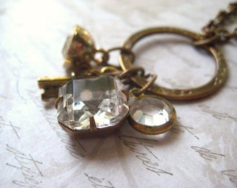 charm necklace rhinestone jewel vintage jewels Vintaj floral eternity circle candies64 womens jewelry golden key rhinestone button