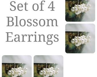 Set of 4 Bridesmaids Earrings, Four Swarovski Pearl Cluster Earrings, Bridal Party Gift, Wedding Earrings, Bridesmaids Gift, Bridal Earrings