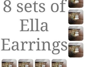 8 sets of Bridesmaids Earrings, Eight Swarovski Pearl Rhinestone Ball Drop Earrings, Bridal Party Gifts, Wedding Earrings, Bridal Earrings