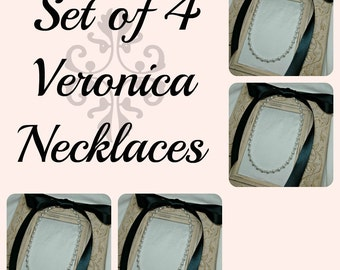 Set of 4 Bridesmaids Necklaces, Four Ribbon Necklaces, Pearl and Crystal Necklaces, Bridal Jewelry, Bridesmaids Gifts, Ribbon Jewelry