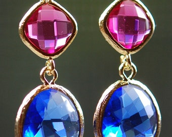 Ruby Pink, Cobalt Blue Glass Earrings, Jewel Tones, 14K Gold Fill Leverbacks, Bridesmaid Gift, Fall Fashion