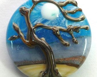 Lampwork Tree Bead Focal Large 32 MM Dichroic Spree Lentil Art Bead (LF1653) Stormy Skies