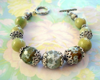 Faceted Fire Agate and Aventurine Bead Bracelet