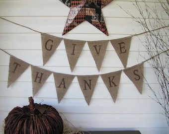 GIVE THANKS....Glittered Burlap Pennant Banner Bunting