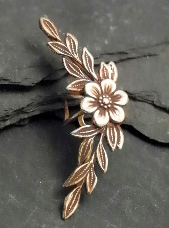 Flower and Leaf Ear Cuff - GOLDEN GARDEN - Handcrafted Brass Ear Wrap