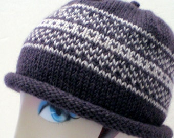 Men or Women Hand Knit Wool Hat - French Roast Brown and Tan