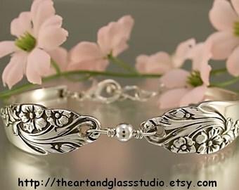 Silver Spoon Bracelet EVENING STAR Jewelry Vintage, Silverware, Gift, Anniversary, Wedding, Birthday