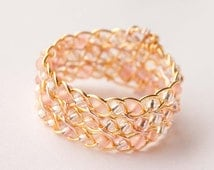 Peach and Gold Braided Ring, Celtic Jewelry, Wire Wrapped Ring