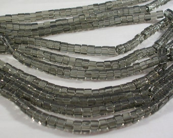 Glass Beads (GB121) SALE 4mm Smokey Grey Cube