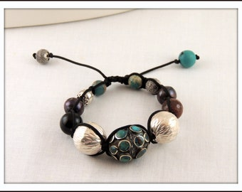 Stunning, Unique, Ethnic, Multistone Adjustable Macrame Bracelet - One of a Kind
