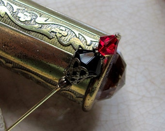 Onyx and Ruby Victorian Edwardian Stick Pin or Ascot Pin I