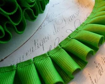Apple Green Grosgrain Box Pleat  Ruffle Trim 7/8 inch
