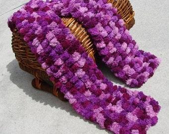 Purple Pom Pom- hand knitted scarf