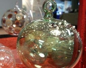 Ex Small Green Snow Capped Hand Blown Glass Ornament by Jenn Goodale
