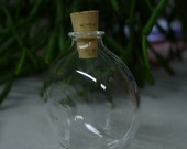 Small Flattened Clear Glass Bottle Hand Blown and Created by Jenn Goodale