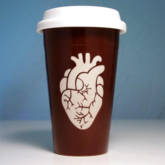 Anatomically Correct Heart - Ceramic Travel Mug - java brown coffee cup