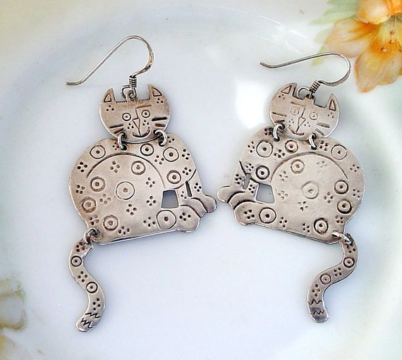 Silver Cat Earrings - Cat with Dangling Tail
